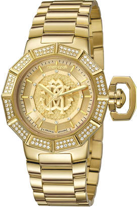 Roberto Cavalli by Franck Muller 35mm Pave Crystal Yellow Golden Stainless Steel Bracelet Watch