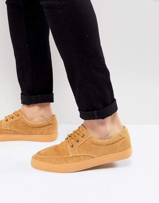 Asos Design Boat Shoes In Stone Cord