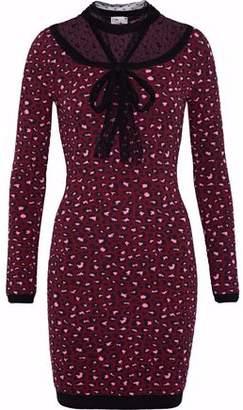 RED Valentino Point D'esprit-Paneled Leopard-Print Jacquard-Knit Mini Dress