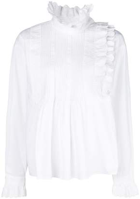 McQ pleated front ruffle trim blouse