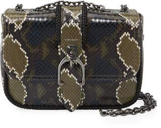 Longchamp Amazone Mini Snake-Print Leather Crossbody Bag