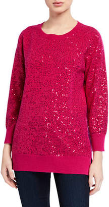 Neiman Marcus Sequin Cashmere Crewneck Sweater