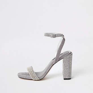 River Island Grey diamante embellished block heel sandal