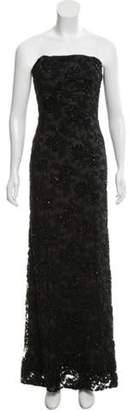 Carmen Marc Valvo Strapless Embellished Evening dress Black Strapless Embellished Evening dress