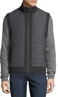 Neiman Marcus Men's Quilted Zip-Front Vest