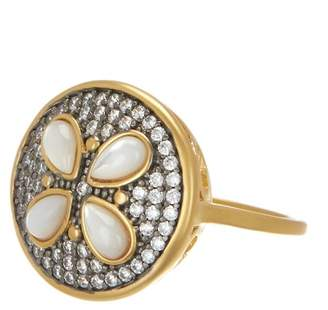 Freida Rothman 14K Gold & Rhodium Plated Sterling Silver CZ Fleur Bloom Petite Petal Ring - Size 8