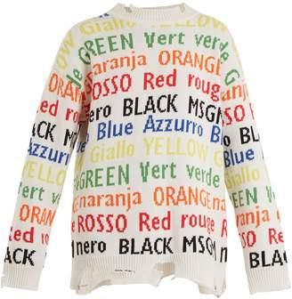 Round-neck jacquard-knit cotton-blend sweater