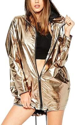 story. Fashion Women Metallic Hooded Zipper Drawstring Plus Size Jackets Coat L