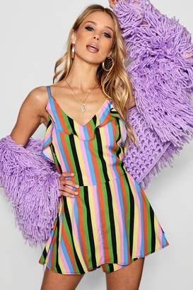 boohoo Jolene Rainbow Stripe Playsuit