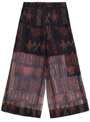 Stella Jean Printed Silk-Organza Wide-Leg Pants