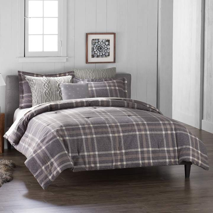 6-Piece Gray Plaid Flannel Comforter Set