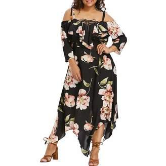 BOLUOYI 2019 Dresses Women Plus Size Summer,Plus Size Midi Dresses,Maxi Dresses for Women Plus Size Fashion Women Off Shoulder Plus Size Lace Up Maxi Flowing Floral Print Dress Sale