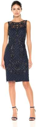 Adrianna Papell Women's Sleeveless Bead Dress, Navy/Gunmetal