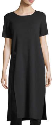 Eileen Fisher Short-Sleeve Washable Wool Crepe Tunic, Petite