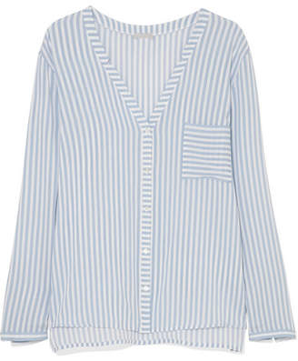 Hanro Sleep & Lounge Striped Voile Pajama Top - Sky blue