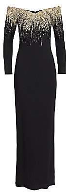 Pamella Roland Women's Sequin Detail Stretch Crepe Column Gown