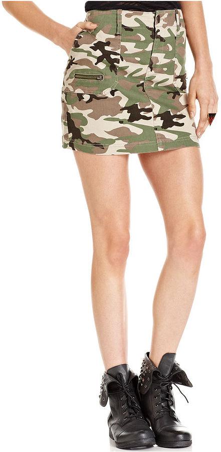 Fire Juniors Skirt, Camouflage-Print Mini