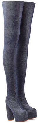 Vetements Thigh High Denim Platform Boots