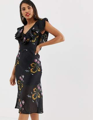 Talulah Lullaby Floral Ruffle Midi Dress