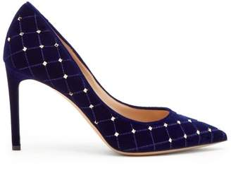 Valentino Rockstud Spike Velvet Point Toe Pumps - Womens - Navy