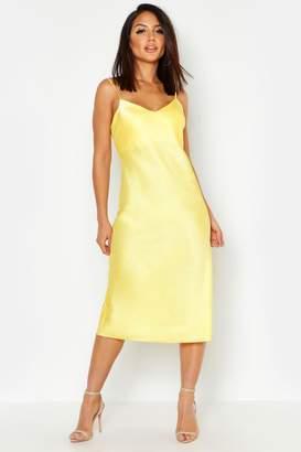 boohoo Satin Midi Slip Dress