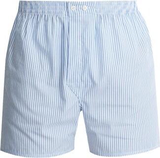 Derek Rose - James Cotton Poplin Boxer Shorts - Mens - Blue Stripe