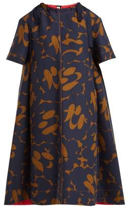 Marni Floral Print Cotton Dress - Womens - Brown Multi
