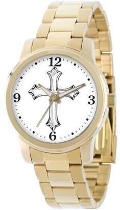 Generic Men's Cross Religious Bracelet Watch, Gold
