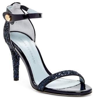 Chiara Ferragni Glitter Leather Trim Ankle Strap Pump