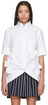 Thom Browne White Point Collar Gathered Shirt