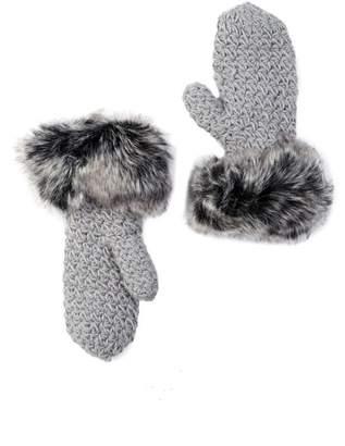 Surell Starfish Knit Faux Fur Cuff Mittens