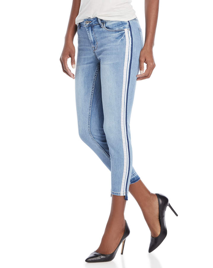 Skinny Step Hem Grosgrain Jeans