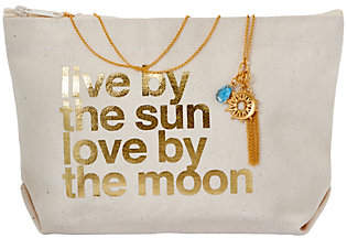 Dogeared Sun and Moon Cluster Necklace andPouch