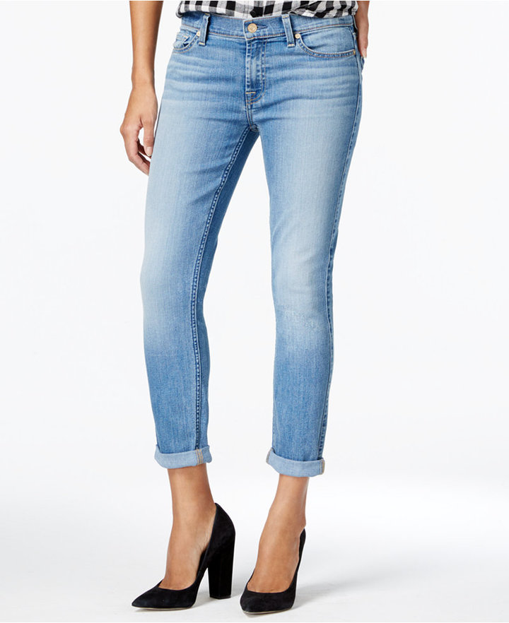 7 For All Mankind 7 For All Mankind The Skinny Crop And Roll Willow Ridge Wash Jeans