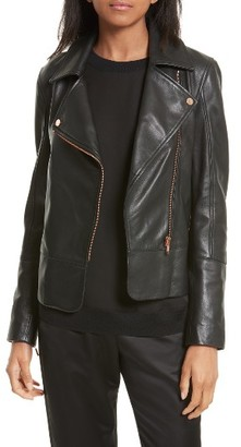 Women's Ted Baker London Lizia Leather Biker Jacket $595 thestylecure.com