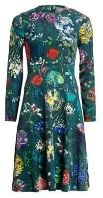 Lela Rose Wildflower Print Fit-&-Flare Dress