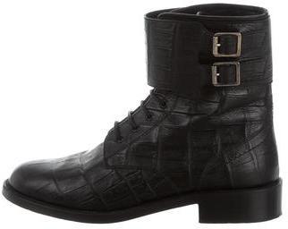 Saint LaurentSaint Laurent Embossed Lace-Up Ankle Boots