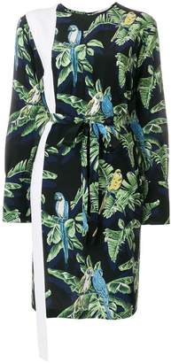 Stella McCartney asymmetric parrot print dress