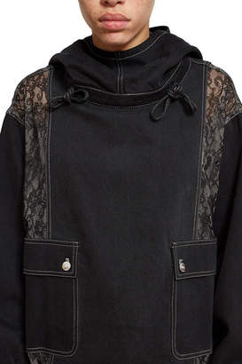 Opening Ceremony Denim Lace Hooded Pullover