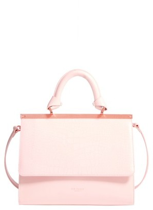 Ted Baker London Croc Embossed Leather Satchel - Pink $375 thestylecure.com