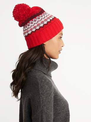 Old Navy Printed Sweater-Knit Pom-Pom Beanie for Women