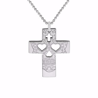 Cartergore Silver Sugar Skull Cross Pendant Necklace