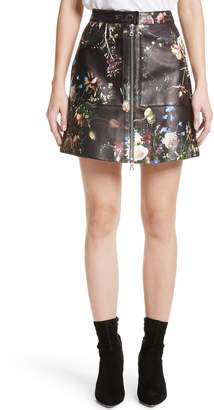 ADAM by Adam Lippes Floral Print Leather Miniskirt