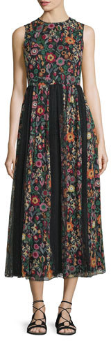 RED Valentino RED Valentino Fancy Flower Sleeveless Midi Dress, Black