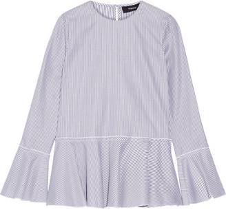 Theory - Lexanda Striped Cotton-poplin Peplum Top - Navy $265 thestylecure.com