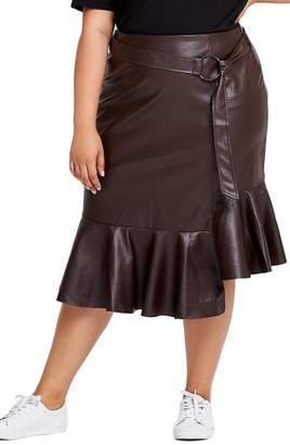 ELVI Pose Faux Leather Pleat Hem Skirt