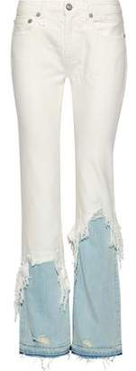 R 13 Two-Tone Distressed High-Rise Flared Jeans