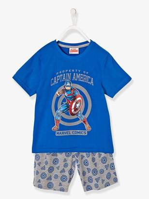 Boys' Printed Pyjamas with Shorts, The Avengers® - blue medium all over printed