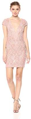 Dress the Population Women's Zoe Cap Sleeve Plunging Sequin Mini Dress