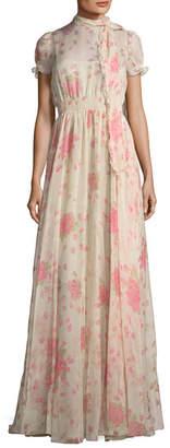 Valentino Floral-Print Chiffon Gown
